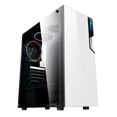 航嘉(Huntkey)GX500T白色机箱(侧透/配1把炫彩风扇/支持ATX主板/宽体游戏电脑机箱/支持长显卡/黑化背线)