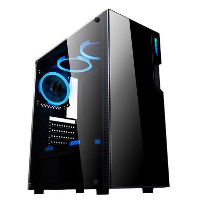 航嘉(Huntkey)GX500T黑色机箱(侧透/配1把炫彩风扇/支持ATX主板/宽体游戏电脑机箱/支持长显卡/黑化背线)