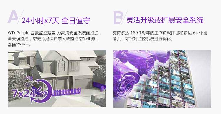 西部数据(WD)紫盘 3TB SATA6Gb/s 64M 监...-京东