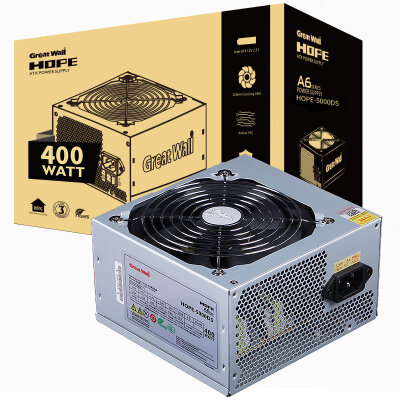 长城(GreatWall) 额定400W HOPE-5000DS电源 (60cm超长输出线/三年质保/台系电容/三芯片防护/静音风扇)