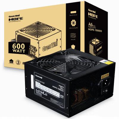 长城(GreatWall) 额定600W HOPE-7000DS电源 (60cm超长输出线/三年质保/日系固态/DC-DC/12cm静音风扇)