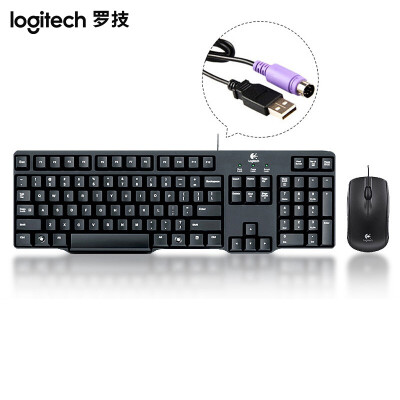 罗技(Logitech) MK100 有线键盘鼠标套装 防水键盘鼠标 圆孔轻薄款键盘 黑色