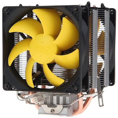 超频三(PCCOOLER)黄海增强版 CPU散热器(9CM静音风扇/多平台/双风扇/配电源转接线/硅脂)