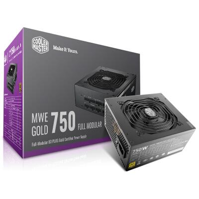 酷冷至尊(CoolerMaster)额定750W MWE750电脑电源(80PLUS金牌/全模组/DCtoDC架构/45℃无损输出/台式机电源)