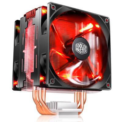 酷冷至尊(Cooler Master) 暴雪T400 Pro 红盖 风冷散热器(I9 2066、AM4/直触热管/PWM温控/双风扇/背锁扣具)