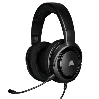 美商海盗船 (USCORSAIR) HS35 Carbon 游戏耳机 电竞耳机 有线连接 耳麦 立体声 支持多平台 黑色