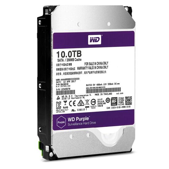 西部数据(WD)紫盘 10TB SATA6Gb/s 256M 监控万博体育手机版登陆(WD100EJRX)