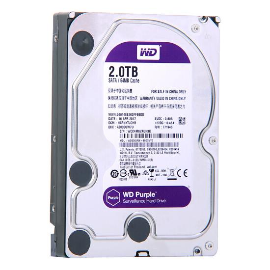 西部数据(WD)紫盘 2TB SATA6Gb/s 64M 监控万博体育手机版登陆(WD20EJRX)